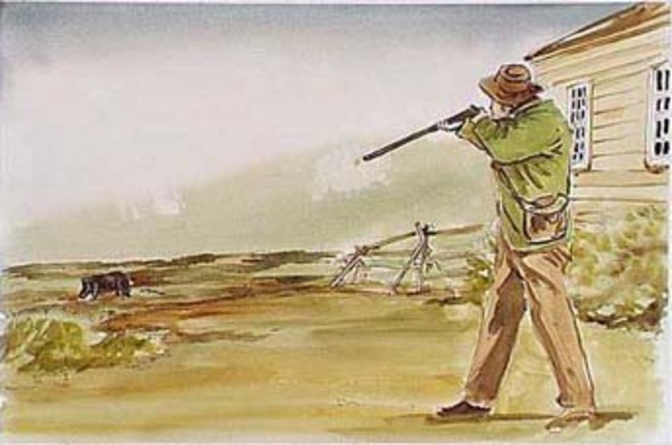 This painting depicts the moment that Lyman Cutlar shot the pig belonging to John Charles Griffin, an employee of the Hudson's Bay Company. The pig had been rooting in Cutlar's garden and John Charles Griffin, its owner, refused to keep it away. (National Park Service)