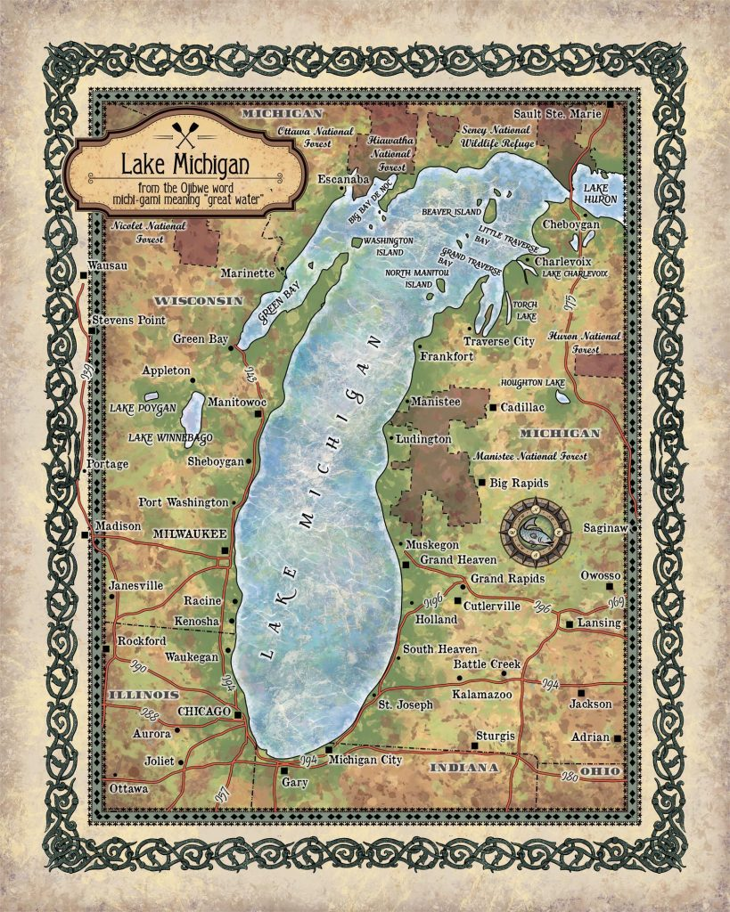 Travel Tuesday Map Feature: Lake Michigan - Great River Arts on michigan maps online, michigan area codes, southeastern mi map, michigan culture, michigan government, michigan trip, michigan travel brochure, michigan trivia, michigan travel destinations, michigan home, michigan-ohio map, michigan travel guide, michigan hotels, michigan vacation, michigan travel poster, michigan activities, michigan country, michigan travel information, michigan beach resorts, michigan time,