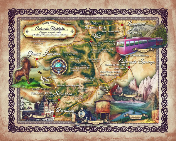 Travel Map Feature 167 Colorado Highlights Custom Map